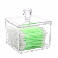 E-SHOW Square Acrylic Organizer Cosmetics Cotton Ball/Pad Holder Storage Box Makeup Organizer Container Single Tier-Transparent