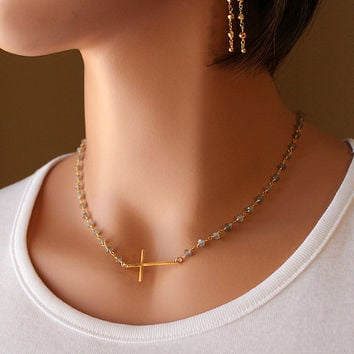 Labradorite Sideways Cross Necklace, Gold Vermeil Cross, Rosary Style, Wire Wrapped necklace, Grey Gemstone