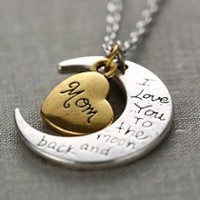 """Promithi Fashion Vintage New"""" I Love You To The Moon And Back""""Necklace Pendant"""