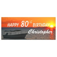 Personalize 80th Birthday Sign Fishing Boat Sunset