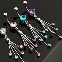 Belly Ring-Crystal Spray