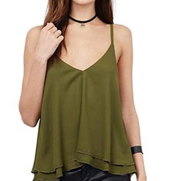HDY Haoduoyi New Fashion Women Vest 2 Colors Solid Sexy V Neck Sleeveless Casual Tops Two Layer Strap Chiffon Open Back Cami