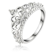 Noble Majestic Crown Ring with Shimmering CZ's