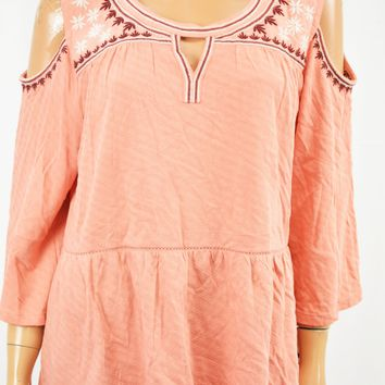 Style&Co Women Keyhole Pink Embroidered Cold-Shoulder Blouse Top XL