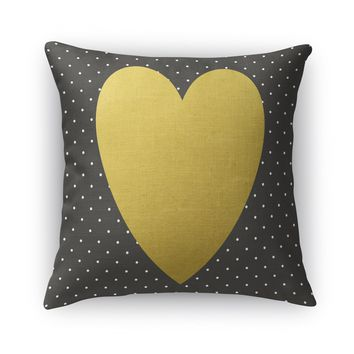 HEART BLACK GOLD Accent Pillow By Rosa Vila