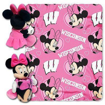 Minnie Mouse Cheerleader Wisconsin Badgers NCAA Throw and Hugger Pillow Set