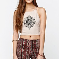 LA Hearts Flower Mandala Criss Cross Back Goddess Neck Cropped Tank Top - Womens Tee - Nude