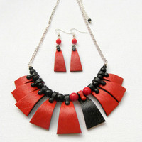 Red black - Handmade necklace earrings -  Faux leather - Polymer jewelry