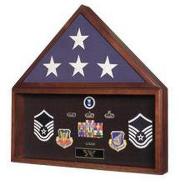 Large Flag And Medal Display Case  For 5ft X 9 Ft Flag Hand Made By Veterans