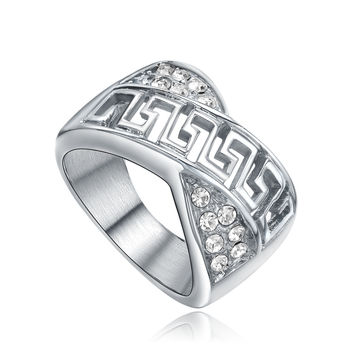Stainless Steel Filigree Greek Key W. Cubic Zirconia Ring