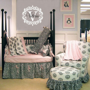 Personalized Vinyl Initial & Name Wall Decal - Shabby Chic Damask Baby Girl Nursery Monogram Toddler Teen Room 22H x 22W GN010