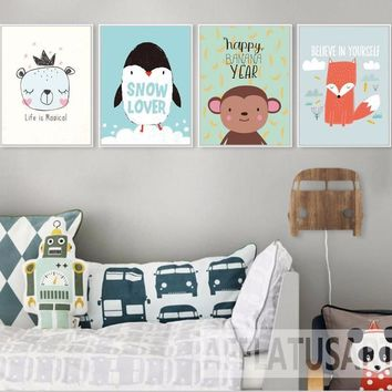 Nursery art / decor - Canvas painting / Poster print - Free Shipping - Kawaii Animals - Motivational Quotes