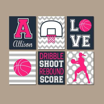 Girl Basketball Wall Art, Basketball Decor, Canvas or Prints, Sports Theme Girl Bedroom Wall Decor, Girl Sports Room Decor, Set of 6 Artwork