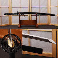 Full Black Japanese Vintage Sword White Rayskin Handmade 1060 Carbon Steel Full Tang Sharp Edge Katana Can Cut Bamboo HA005