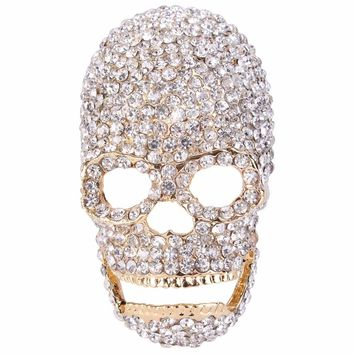 BELLA Fashion Sparkling Silver Gold Tone Skull Bone Skeleton Brooch Austrian Crystal Brooch Pins For Party Jewelry