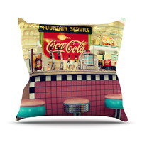 "Sylvia Cook ""Retro Diner"" Coca Cola Throw Pillow"