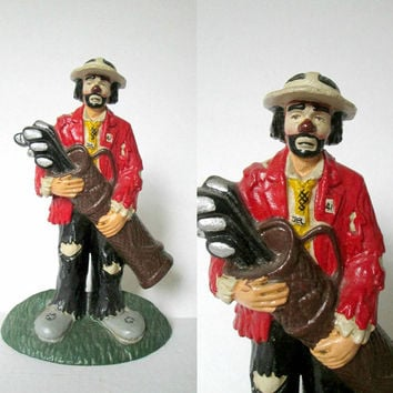 Vintage Cast Iron Clown Golfer / Hobo Clown Carrying Golf Clubs / Door Stop Bookend Figurine