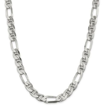 925 Sterling Silver 10.6mm Figaro Anchor Chain Necklace, Bracelet or Anklet