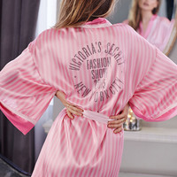 Sexy Pink Striped Silk Robe