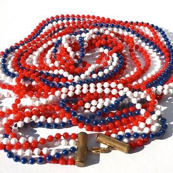 "60s Extra Long Multistrand 29""Bead Sautoir Necklace,Red White & Blue Beads,Boho Beads,Plastic Bead Necklace,Flapper Necklace,Costume Jewelry"