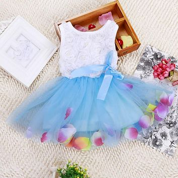 High Quality Baby Kids Girls Princess Pageant Party Tutu Dress Lace Bow Flower Tulle dress