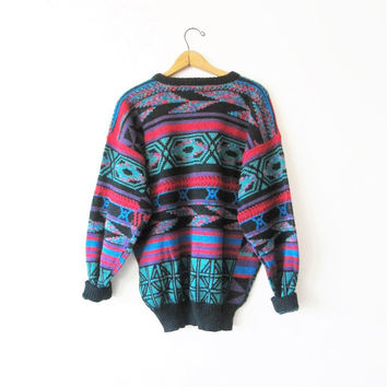 Vintage 1990s Aztec Coogi Style Cosby Biggie Smalls Sweater Sz XL