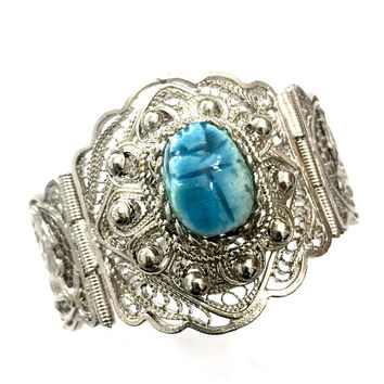 Egyptian Revival Scarab Filigree Bangle Bracelet, Hinged Bangle, Blue Faience Scarab, Intricate Filigree Details, Vintage Statement Bangle