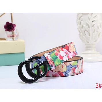 GUCCI Fashion Woman Men Black Smooth Buckle Flower Print Belt Leather Belt 3# I-MYJSY-BB