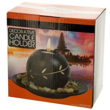 Decorative Round Candle Holder with Stones ( Case of 4 )