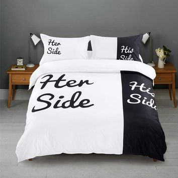 Black white Bedding sets 3pcs 4pcs His Side & Her Side Duvet / Quilt Cover bedsheet for Home bed set twin full Queen King