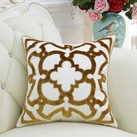 "Yellow Moroccan Floral Pillow 20""X20"""