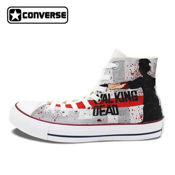 Cool Women Men's Converse Chuck Taylor Hand Painted Shoes Man Woman The Walking Dead Custom Design Grey High Top Sneakers