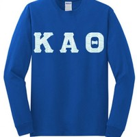 Kappa Alpha Theta Regular Long Sleeve T-shirt with Sewn-On Letters | Great Pricing | Customize Now