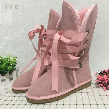 Hot 2017 Australian Style Women Winter Boots Lace Up Suede Leather Brand Ivg Lady Girl Pink ugs Snow Boots Plus Size US 4-13