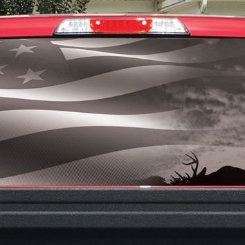 Bow Hunter and Flag BW Rear Window Decal