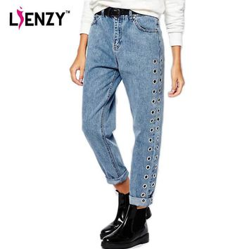 LIENZY Spring Casual Women Mom Jeans Side Eyelet  Boy friend High Waist Blue Vintage Loose Women Jeans Denim Pants