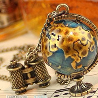 3D world globe and telescope pendant travel by sweethearteverybody