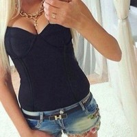 DCCKJG2 Sexy Women Sleeveless Blouse Ladies Bodysuit Leotard Top Backless top NEW