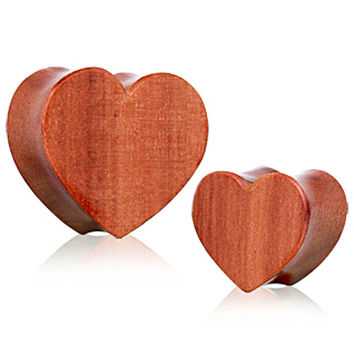 Organic Red Cherry  Wood Heart Saddle Plug
