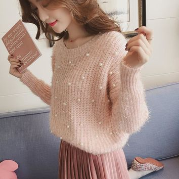 2017 New Arrival Beading mohair Sweater for Women Autumn Pullovers Knit Garments Female Wool Sweaters Pink Grey off white