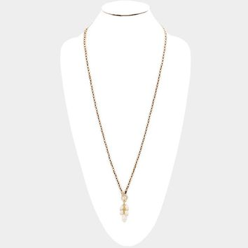 Mee'La Fesh Water Pearl Long Dangle Necklace - Gold and Topaz