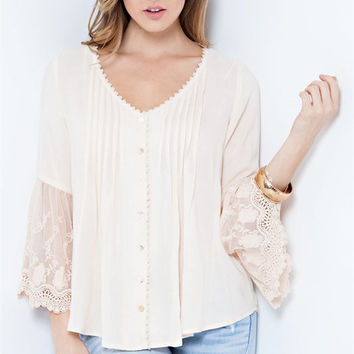 Peach Top With Lace Bell Sleeves