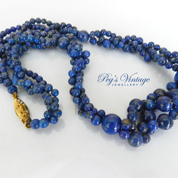 Vintage/Antique Lapis Lazuli Twisted Necklace/Multi Strand Small Lapis Bead Necklace/Choker