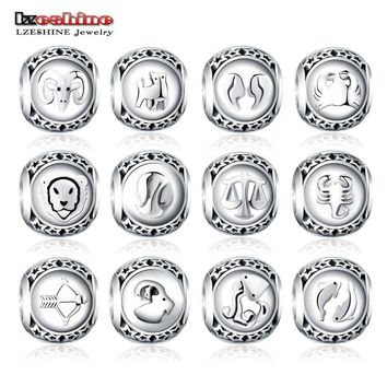 LZESHINE 925 Sterling Silver Beads Twelve Constellations Accessoriess Zodiac Bead Cha