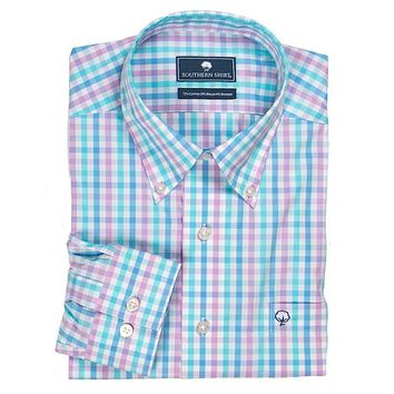 Palmetto Check Button Down in Mirage by The Southern Shirt Co..