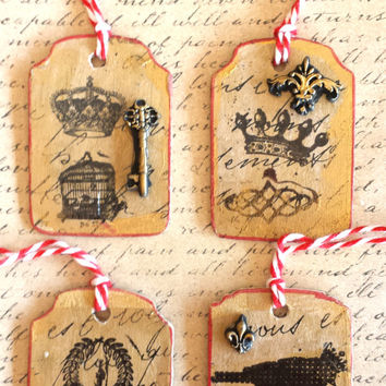 French Style Ornament Wood Hand Painted and Decoupage Parisian Christmas  Tag French Crown Fleur de lis french ornaments