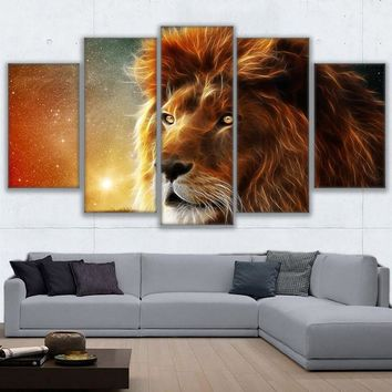 5 Pcs Panel Mystic Lion Canvas Paintings Abstract Animal Wall Art Print Canvas