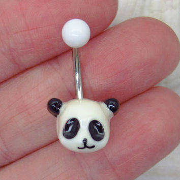 Cute panda belly button ring , panda charm, panda navel piercing, belly button ring jewelry,unique gift