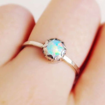 Opal Ring - unique ring - stackable ring - sterling silver ring - opal jewelry