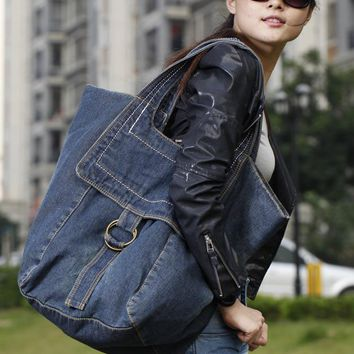Large Capacity Casual Women Denim Bag Designer Female Big Shoulder Bags For Travel Jeans Ladies Purse 2colors Bolsa Feminina